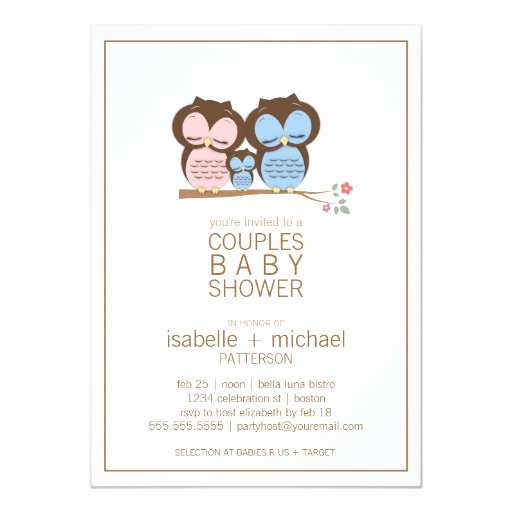 Couple Baby Shower Invitation Best Of Cute Owl Family Couples Baby Shower Invitation