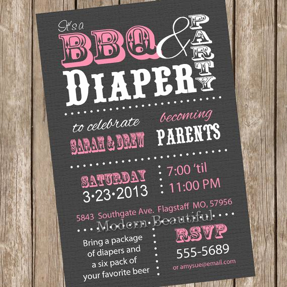 Couple Baby Shower Invitation Elegant Couples Bbq and Diaper Baby Shower Invitation Grey Pink