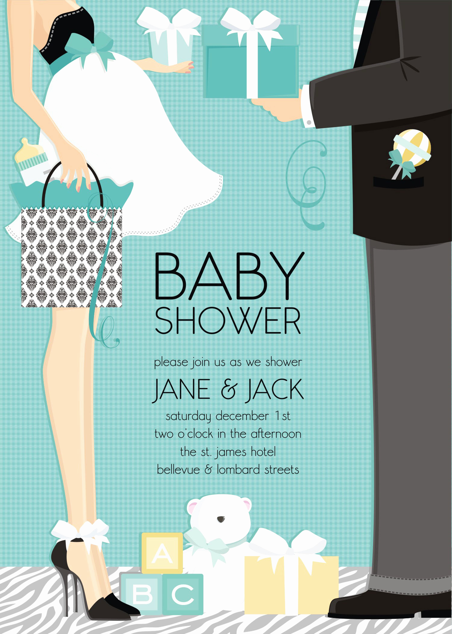 "Couple Baby Shower Invitation Elegant Quick View Dm In 287 ""classic Couple Baby Shower"