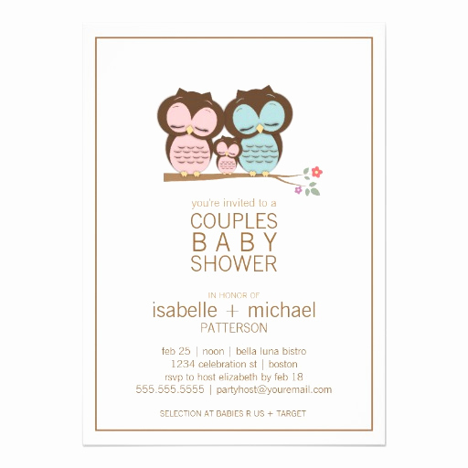 "Couple Baby Shower Invitation Lovely Cute Owl Family Couples Baby Shower Invitation 5"" X 7"