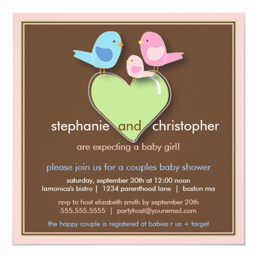 Couple Baby Shower Invitation Luxury Sweet Bird Family Couples Baby Shower Invitation