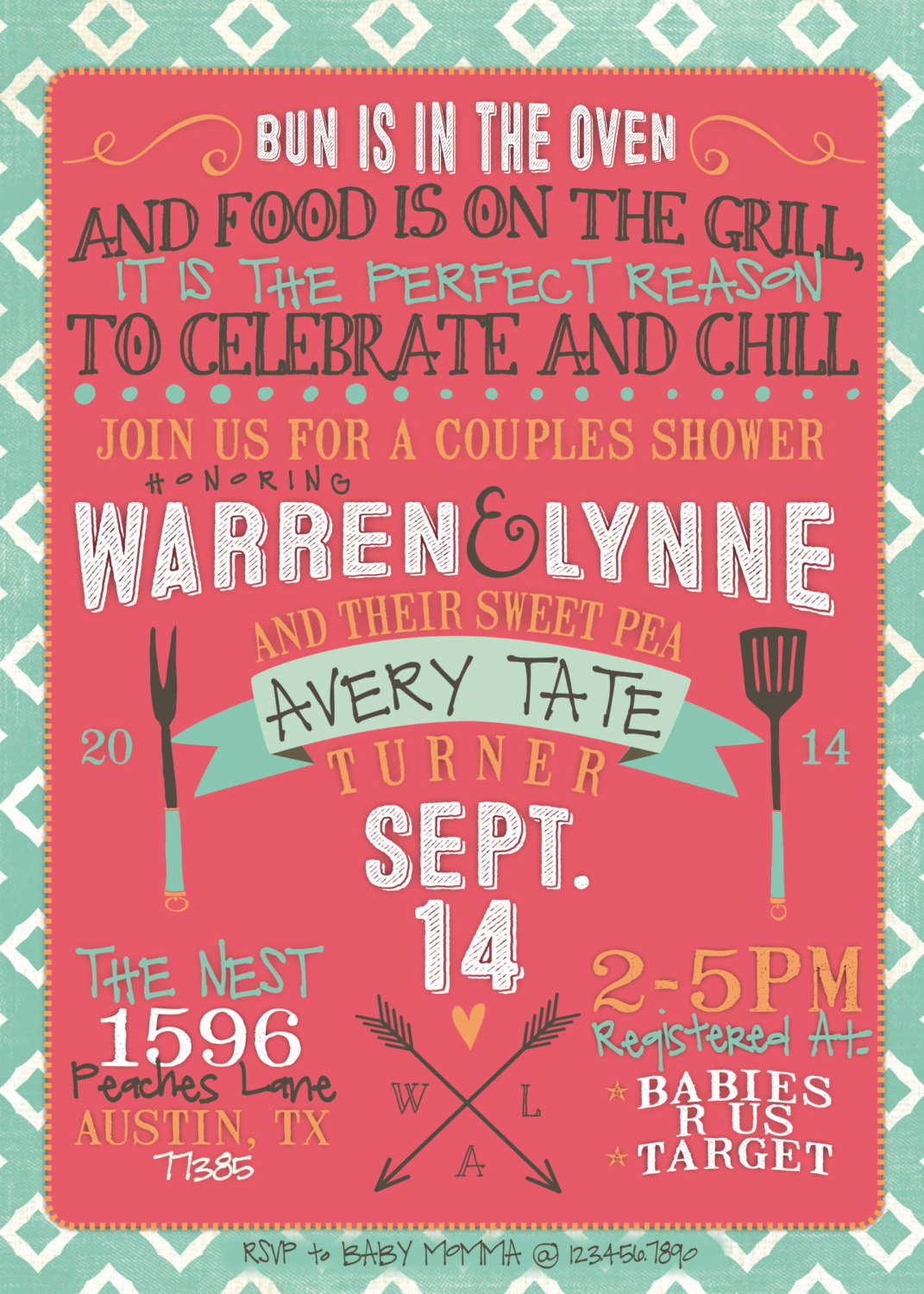 Couple Baby Shower Invitation New Couples Baby Shower Invitation Bbq Modern Girl or Boy