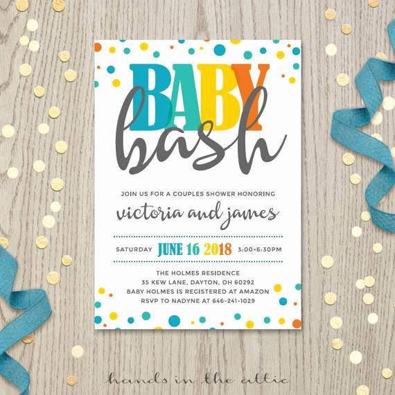 Couple Baby Shower Invitation Wording Beautiful Baby Bash Couples Co Ed Baby Shower Invitation by