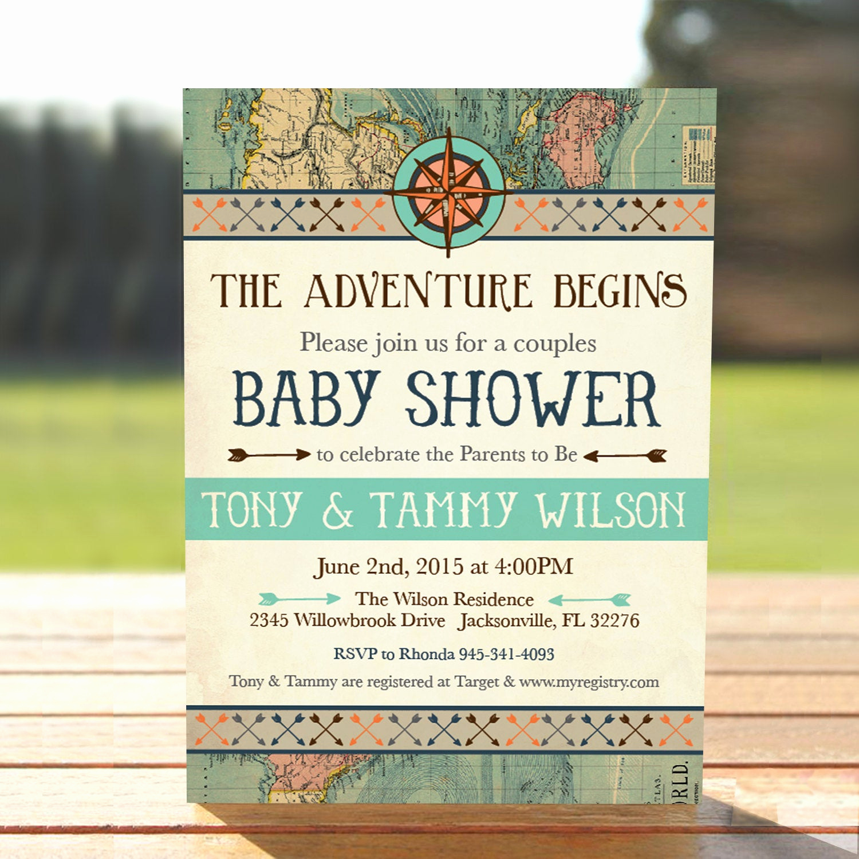 Couple Baby Shower Invitation Wording Beautiful Vintage Map Couples Baby Shower Invitation Adventure Baby
