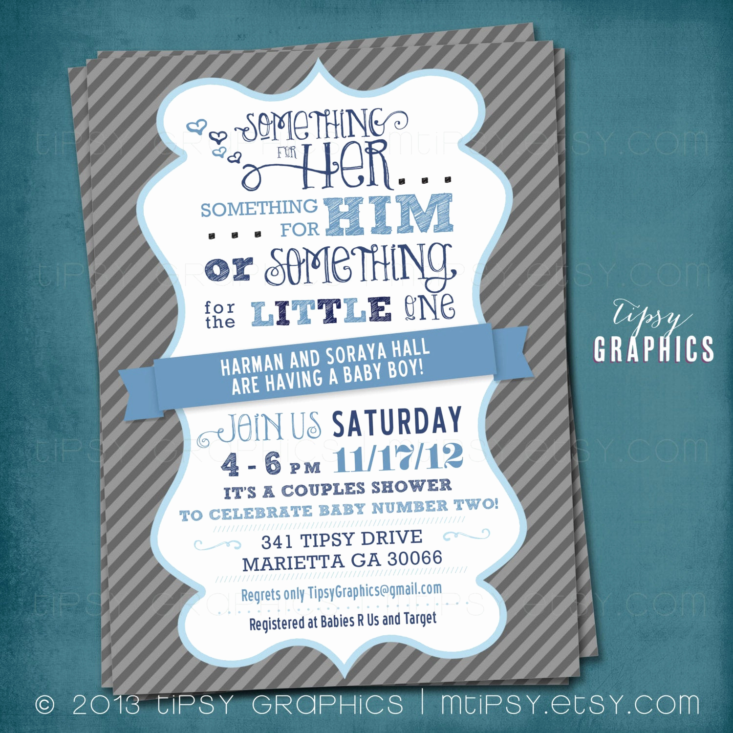 Couple Baby Shower Invitation Wording Best Of something for the Little E Couples Baby Shower Invite by