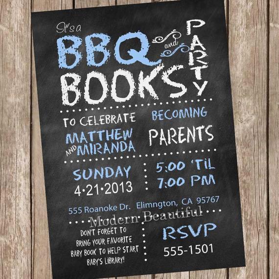 Couple Baby Shower Invitation Wording Fresh Chalkboard Couples Bbq Book Baby Shower Invitation