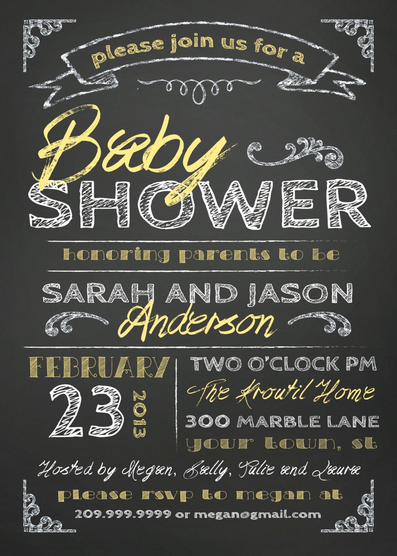 Couple Baby Shower Invitation Wording Inspirational Couples Baby Shower Invitation Chalkboard