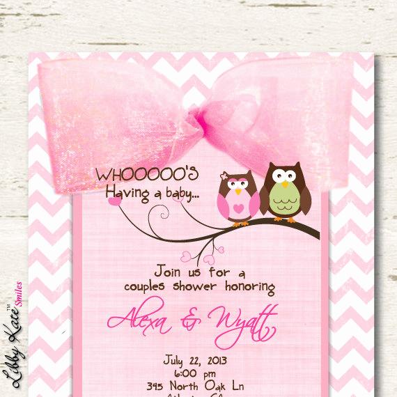Couple Baby Shower Invitation Wording Inspirational Owl Baby Shower Invitation Couples Girl