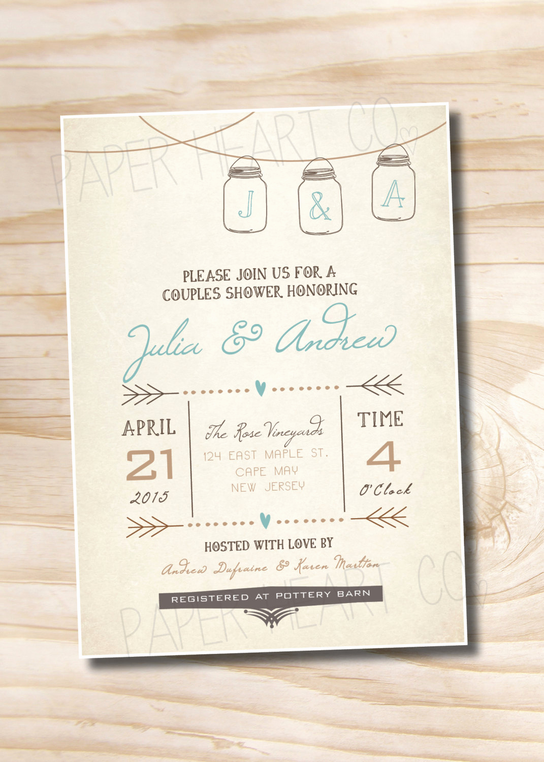 Couple Shower Invitation Wording Inspirational Mason Jar Invitation Couples Shower Bridal Shower Baby Shower