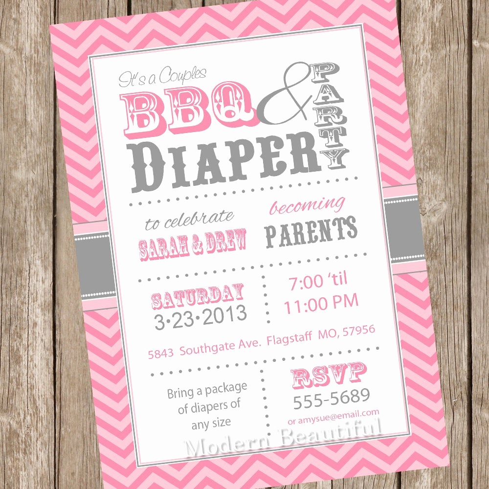 Couple Shower Invitation Wording Lovely Chevron Couples Bbq and Diaper Baby Shower Invitation