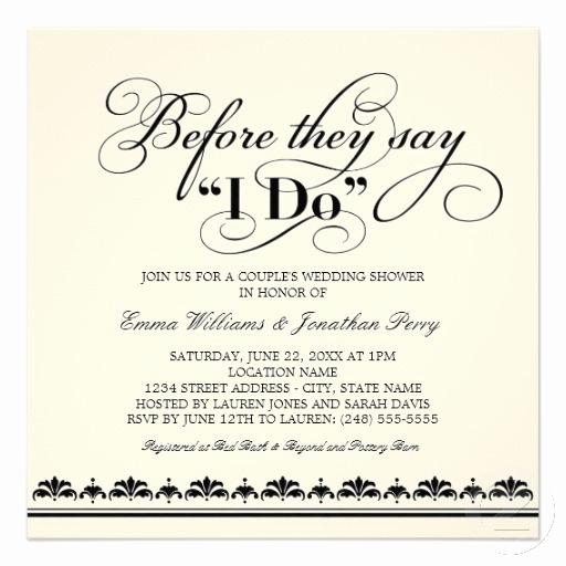 Couple Shower Invitation Wording Luxury Couple S Wedding Shower Invitation