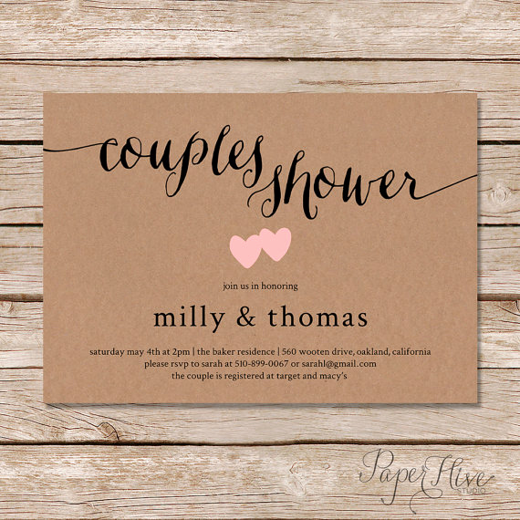 Couple Shower Invitation Wording New Rustic Couples Shower Invitation Kraft Couples Wedding