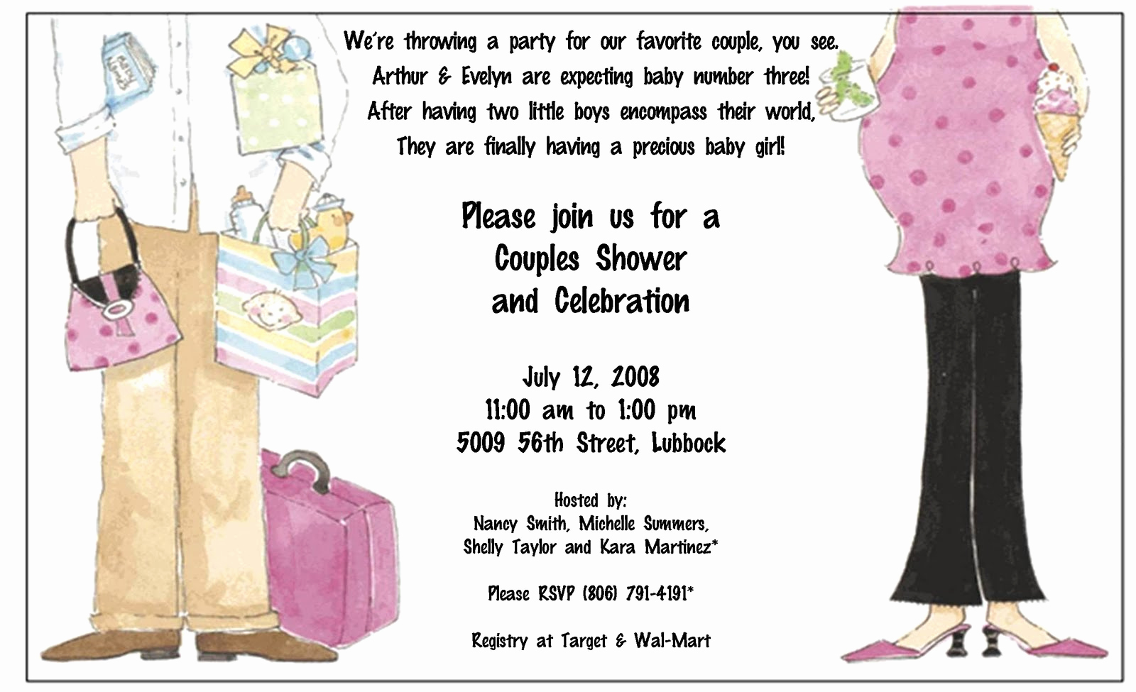 Couples Baby Shower Invitation Wording Awesome Creations by Kimberly Baby Shower Birth Announcements