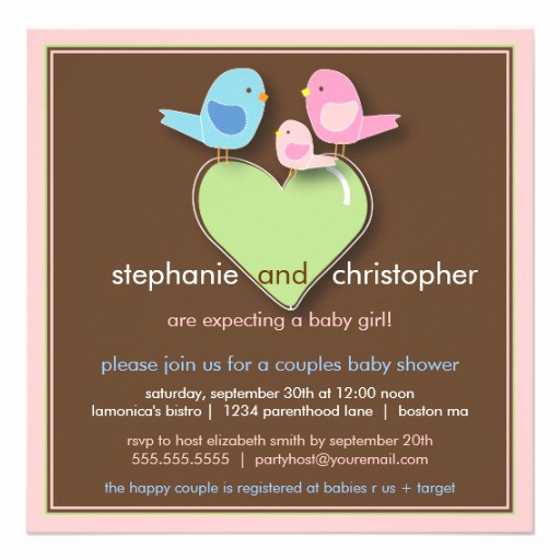 Couples Baby Shower Invitation Wording Awesome Sweet Bird Family Couples Baby Shower Invitation 5 25