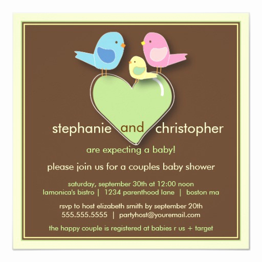 Couples Baby Shower Invitation Wording New Sweet Bird Family Couples Baby Shower Invitation