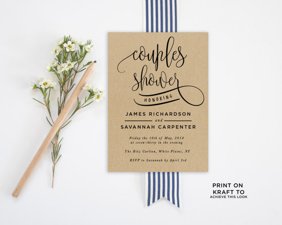 Couples Shower Invitation Templates Elegant Couples Shower Invitation Template Editable Invitation