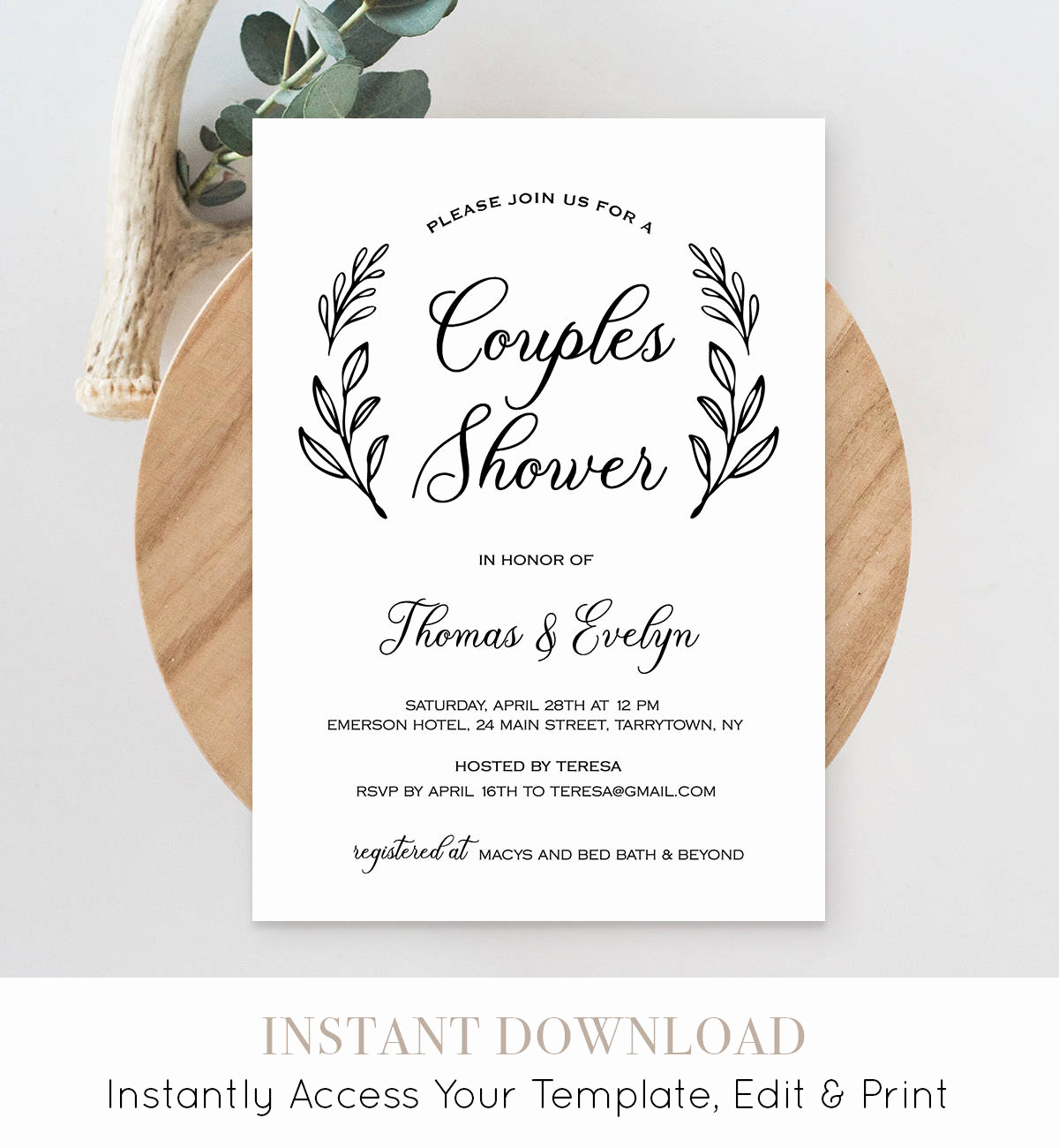 Couples Shower Invitation Templates Elegant Couples Shower Invitation Template Printable Wedding Shower