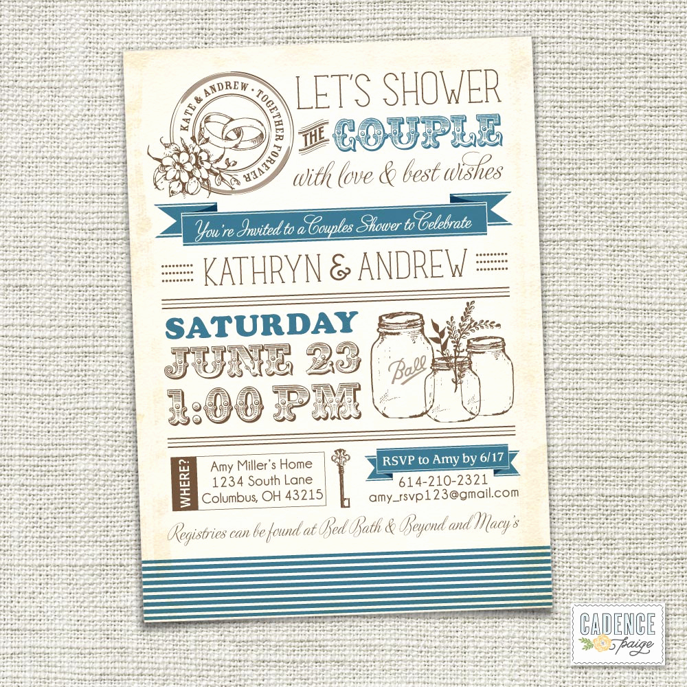 Couples Shower Invitation Templates Elegant Items Similar to Vintage Mason Jars Couples Shower
