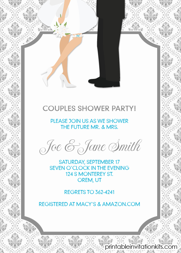 Couples Shower Invitation Templates Free Awesome Couples Shower Invitation Engagement Party Invite
