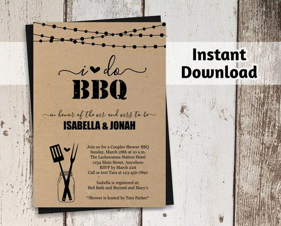 Couples Shower Invitation Templates Free Awesome I Do Bbq Invitation Template Couples Wedding Bridal Shower