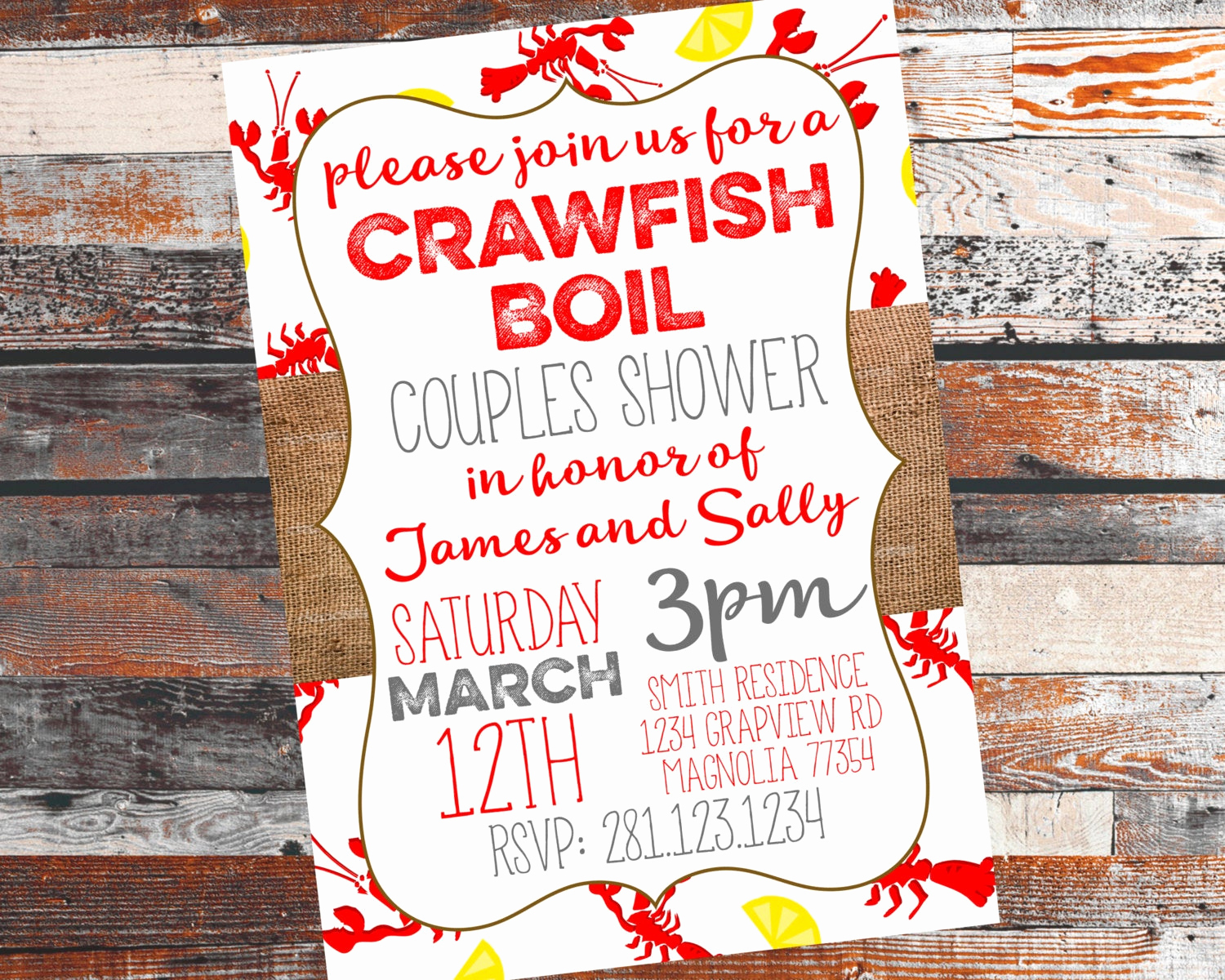 Couples Shower Invitation Templates Free Lovely Crawfish Boil Invitation Couples Shower Invitation Crawfish