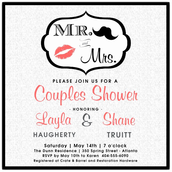 Couples Shower Invitation Templates Free New Mr and Mrs Couples Shower Invitations