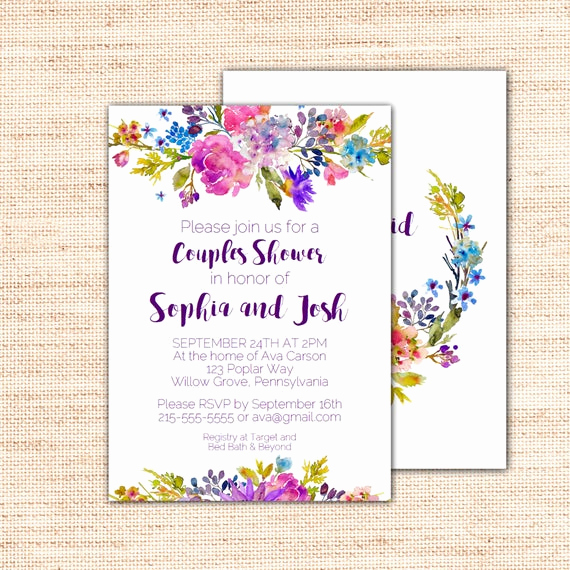 Couples Shower Invitation Templates Free Unique Garden Couples Bridal Shower Invitation Template by