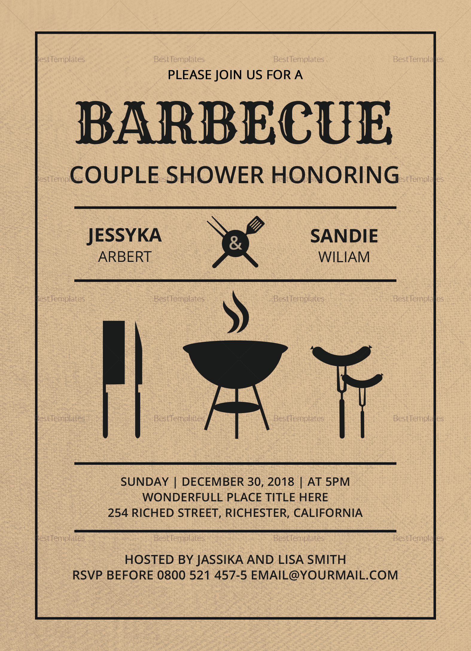 Couples Shower Invitation Templates Unique Couple Shower Bbq Invitation Design Template In Word Psd