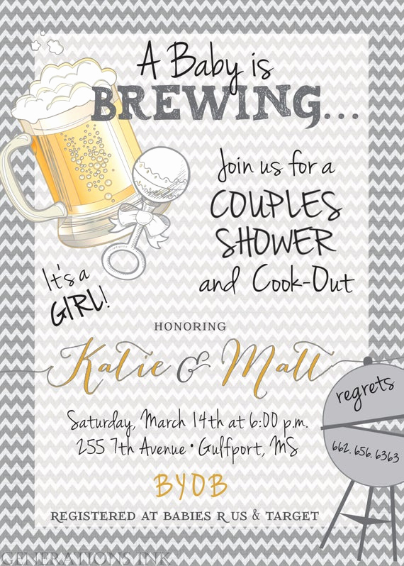 Couples Shower Invitation Templates Unique Couples Baby Shower Invitationbaby is Brewing by