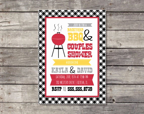 couples shower barbecue invitation