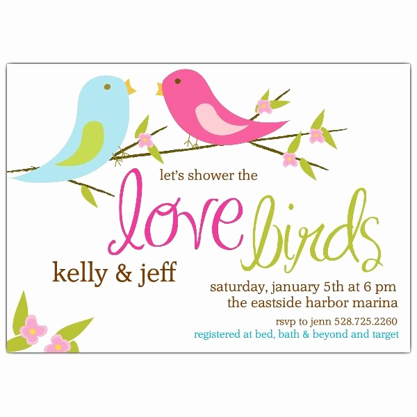 Couples Wedding Shower Invitation Wording Awesome Love Birds Bridal Shower Invitations