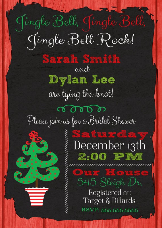 Couples Wedding Shower Invitation Wording Beautiful Items Similar to Christmas Bridal Shower Invitation