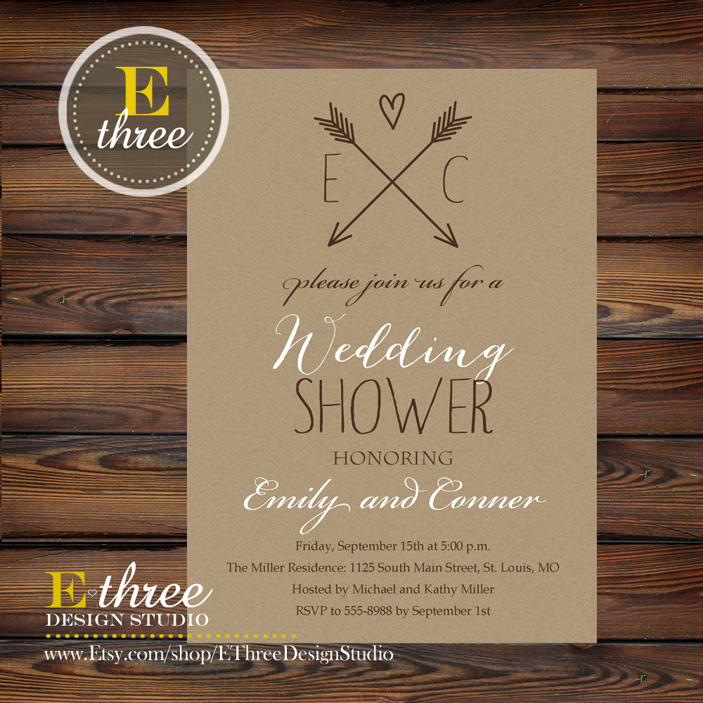 Couples Wedding Shower Invitation Wording Beautiful Rustic Couples Wedding Shower Invitation Kraft Paper and