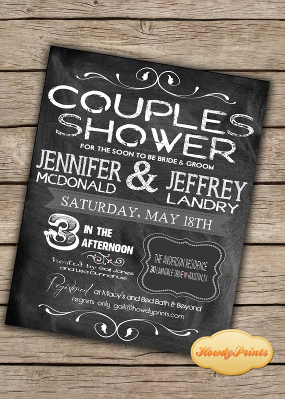 Couples Wedding Shower Invitation Wording Fresh Items Similar to Chalkboard Invitation You Print or I