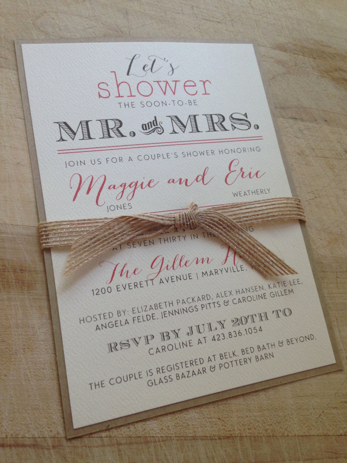 Couples Wedding Shower Invitation Wording Lovely Couple S Wedding Shower Invitation Vintage and Burlap