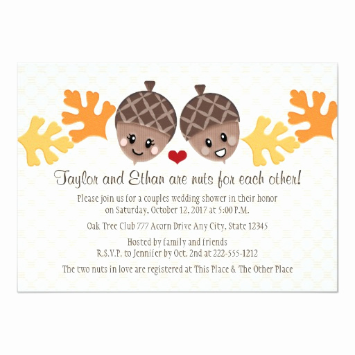 Couples Wedding Shower Invitation Wording Lovely Cute and Funny Acorn Couples Wedding Shower 5x7 Paper