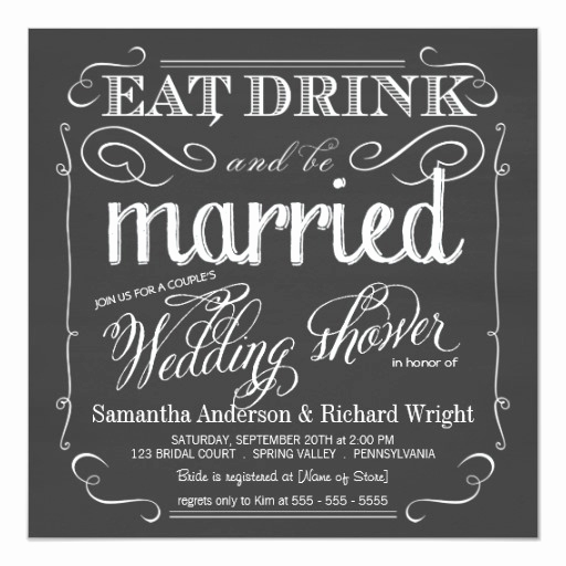 Couples Wedding Shower Invitation Wording New Chalkboard Couples Wedding Shower Invitations