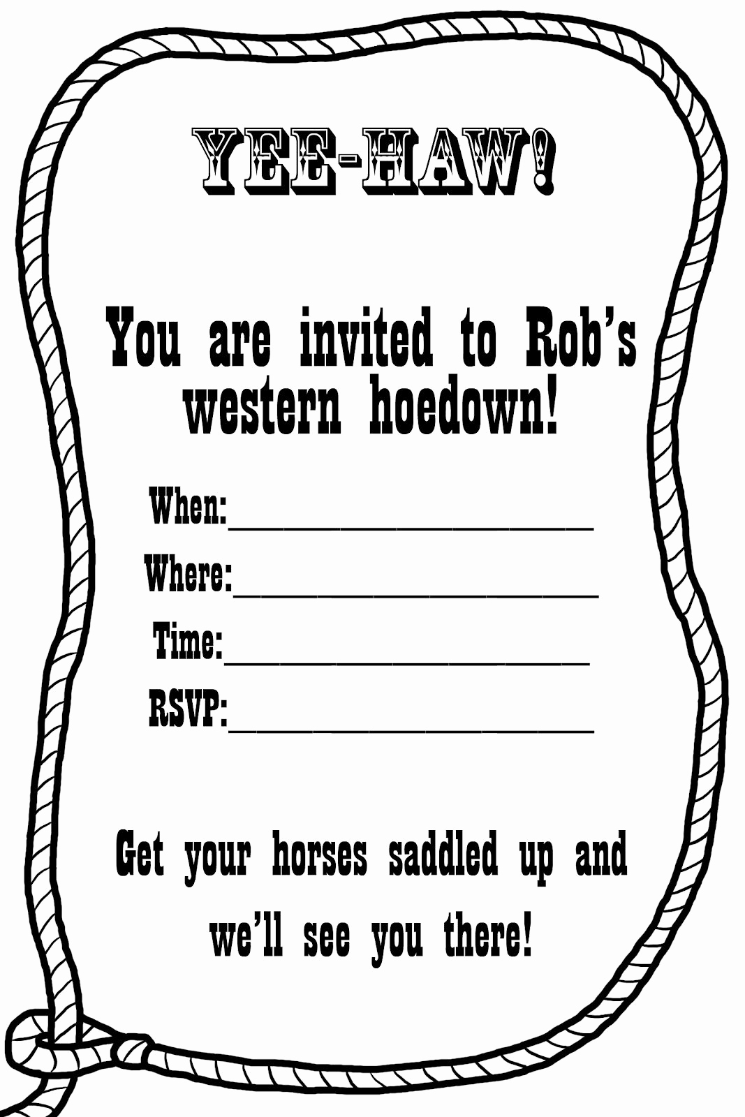 Cowgirl Invitation Template Free Awesome Free Western Invitation Templates
