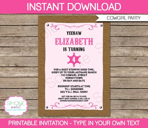 Cowgirl Invitation Template Free Elegant Cowgirl Invitation Template Birthday Party Instant