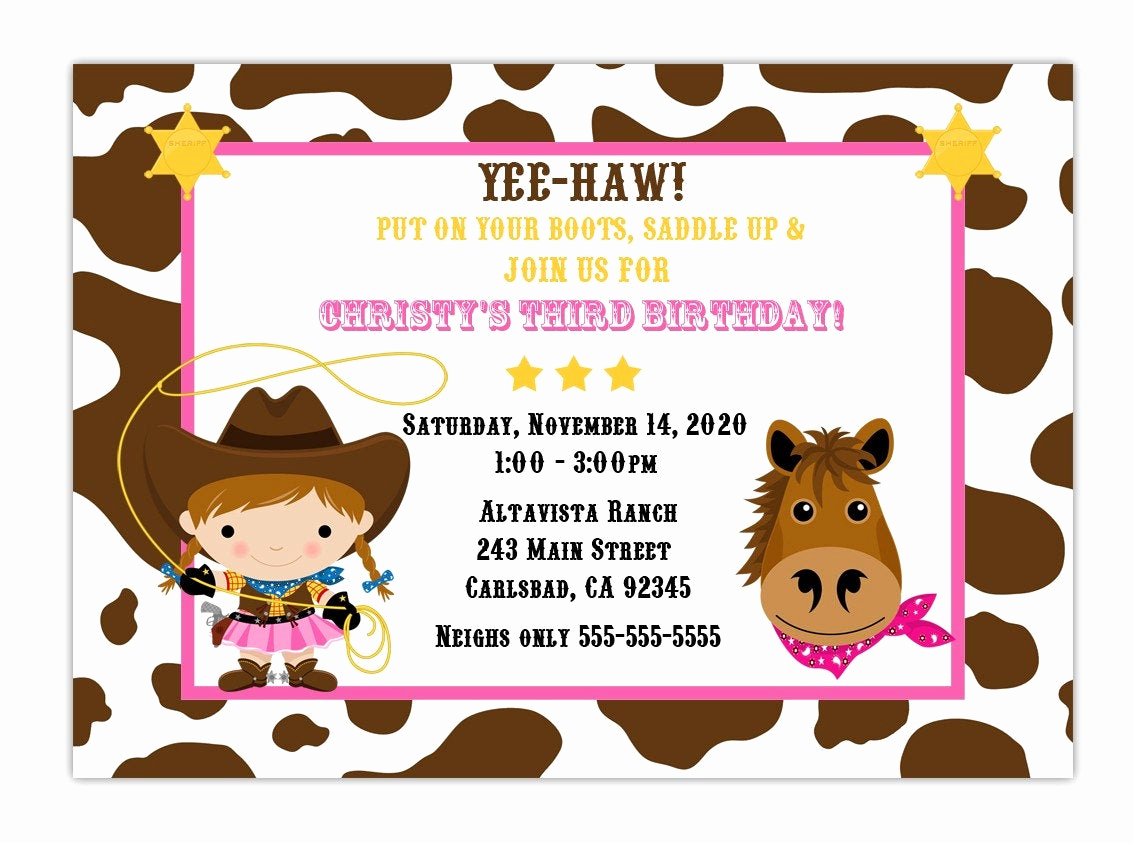 Cowgirl Invitation Template Free Fresh Custom Cowgirl Birthday Party Invitation Choose Background and