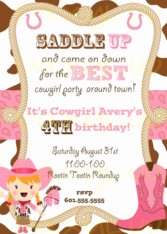 Cowgirl Invitation Template Free Inspirational Cowgirl Birthday Party Invitation Pink and Brown