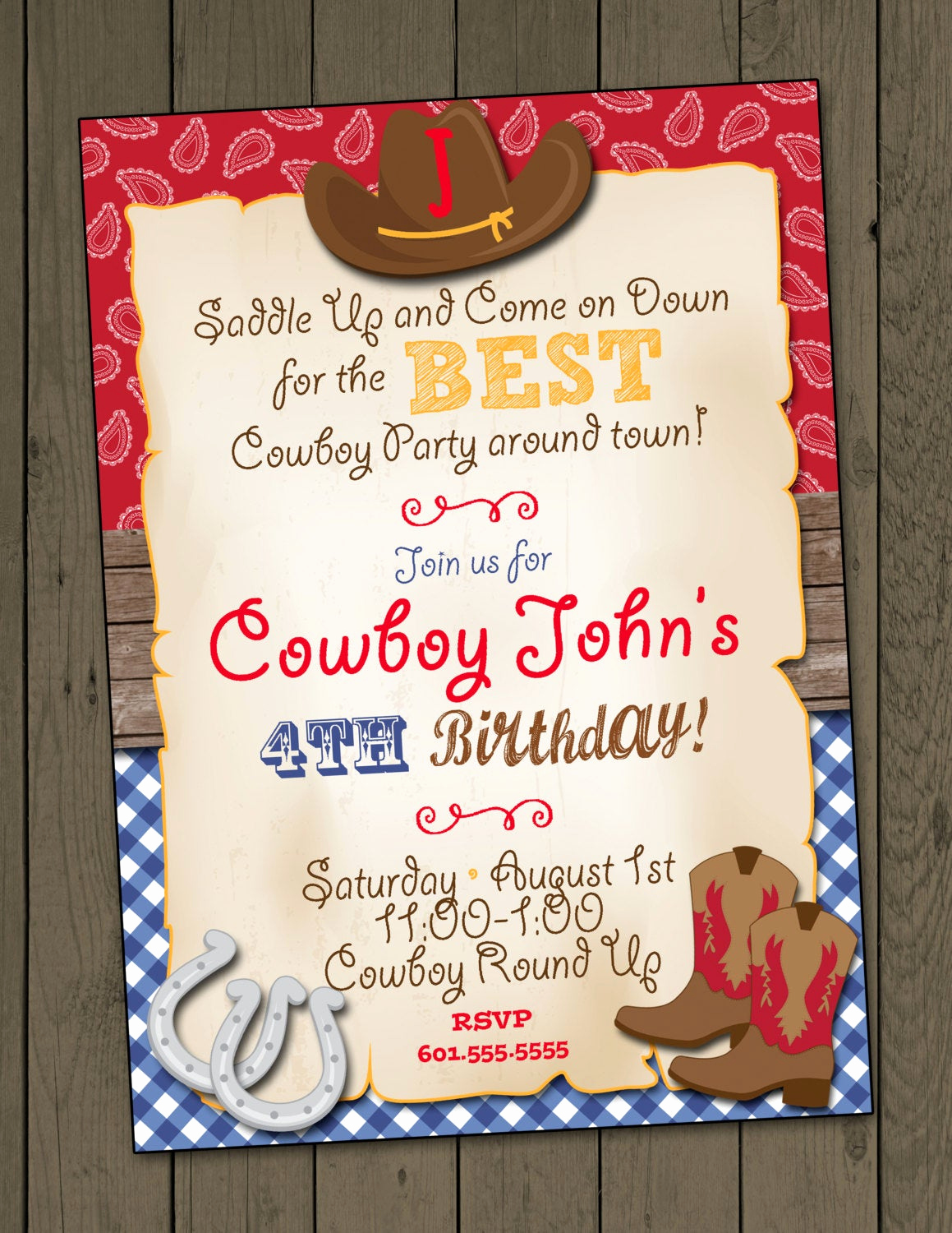 cowboy birthday party invitation cowboy