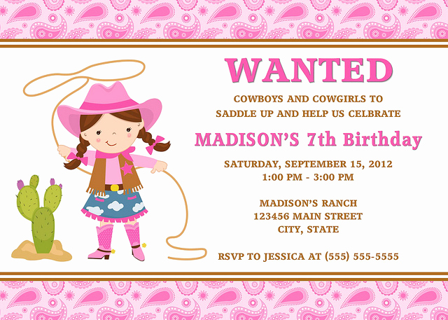 Cowgirl Invitation Template Free Unique Cowgirl Birthday Invitations Ideas – Bagvania Free