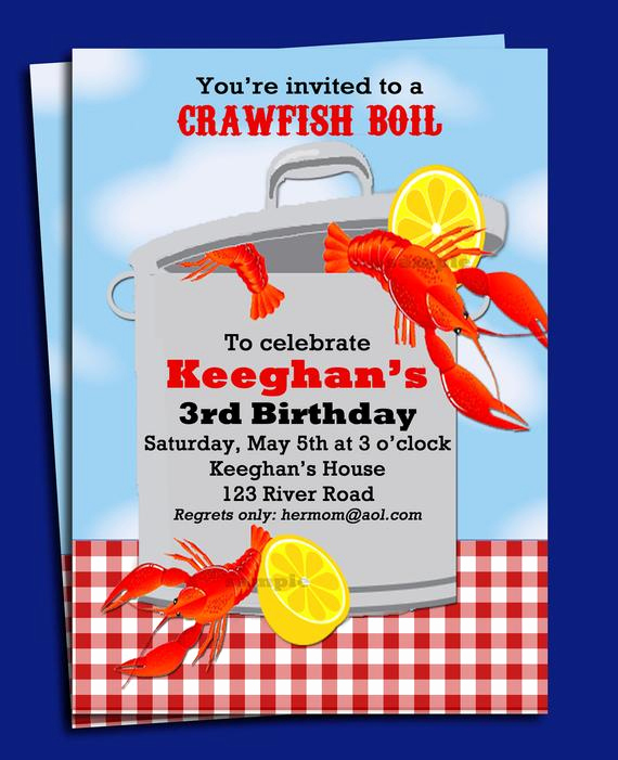 Crawfish Boil Invitation Wording Awesome Crawfish Boil Invitation Printable or Printed with Free