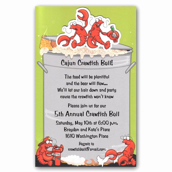 Crawfish Boil Invitation Wording Awesome Crawfish Boil Wiggler Invitations