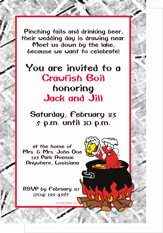 Crawfish Boil Invitation Wording Awesome Items Similar to Party Invitations Crawfish Boil