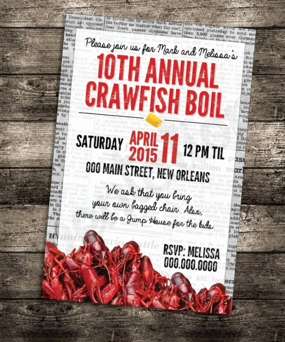 Crawfish Boil Invitation Wording Beautiful Crawfish Boil Invitation