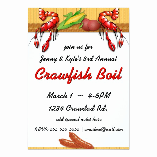 Crawfish Boil Invitation Wording Beautiful Crawfish Boil with Sausage Invitations