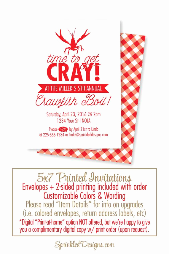 Crawfish Boil Invitation Wording Best Of Crawfish Boil Invitation Time to Cray Cray New orleans