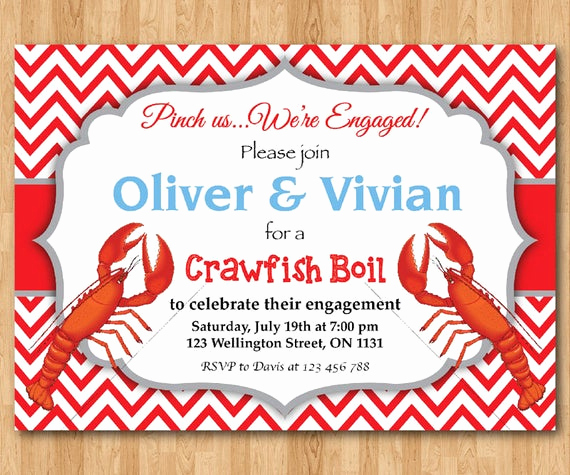 Crawfish Boil Invitation Wording Elegant Crawfish Boil Invitation Engagement Party Wedding